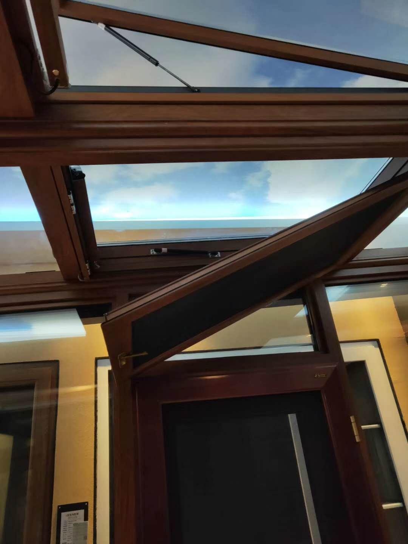 铝合金隐框木纹色电动天窗